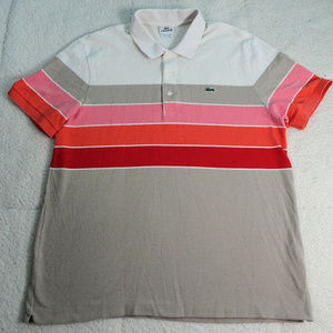 Lacoste Gray/Pink/Orange/Red Polo Size 6 or X-Lg